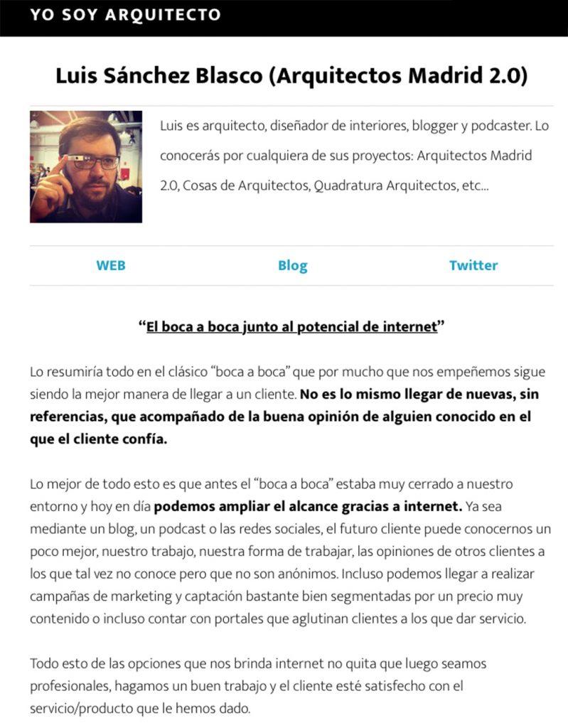 yo soy arquitecto entrevista Arquitectos Madrid 2.0 Luis Sánchez Blasco