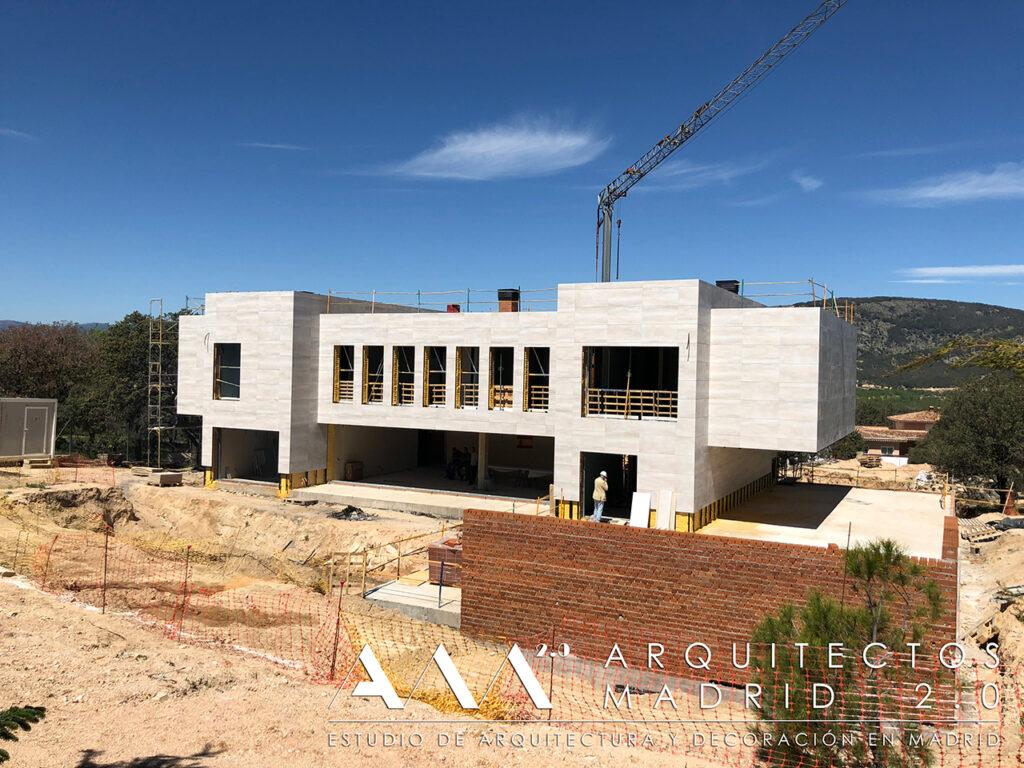 proyecto vivienda unifamiliar en madrid de lujo obra contruccion  piedra