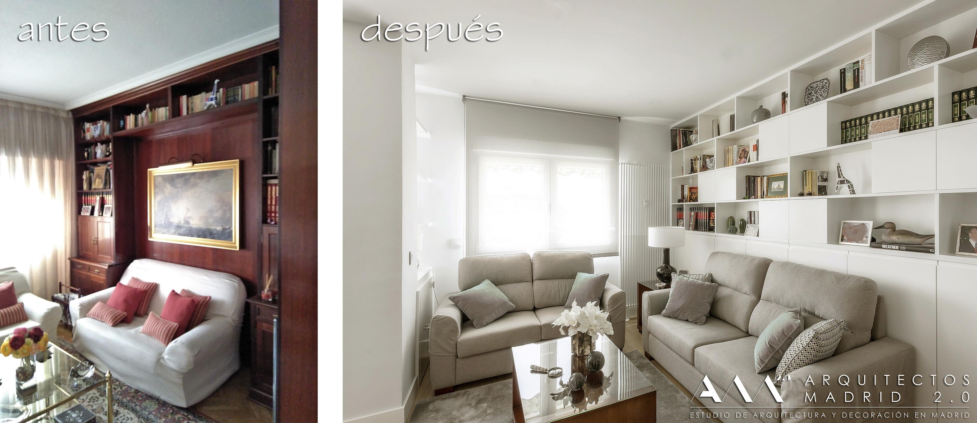 antes-despues-reforma-vivienda-ideas-decoracion-sala-estar-biblioteca-estanteria