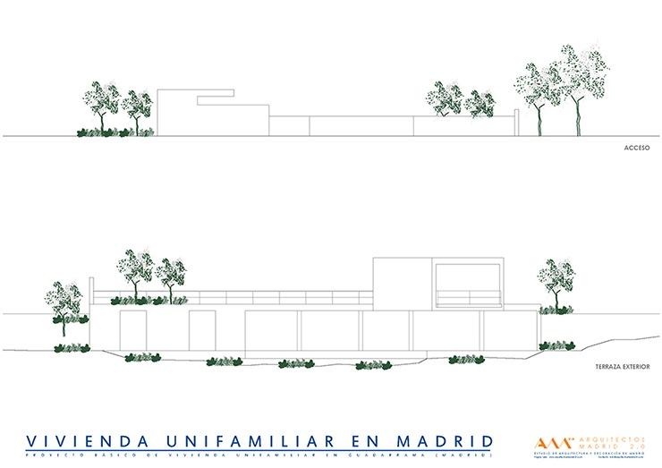 arquitectos madrid proyecto construccion vivienda unifamiliar alzados