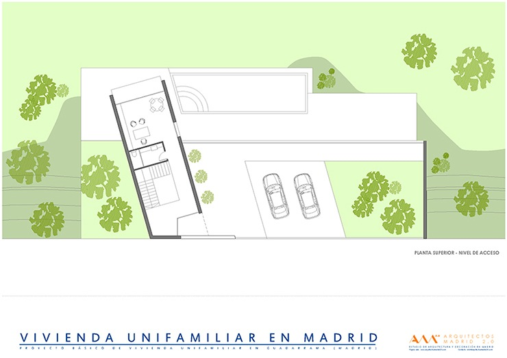 arquitectos madrid proyecto construccion vivienda unifamiliar plano acceso