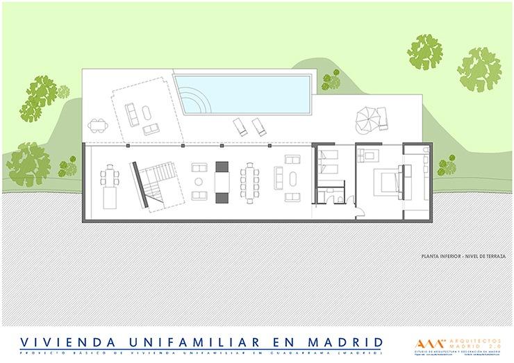 arquitectos madrid proyecto construccion vivienda unifamiliar plano terraza