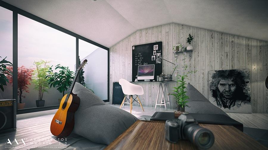 decoracion buhardilla proyecto reforma vivienda unifamiliar en madrid por ARQUITECTOS MADRID 06