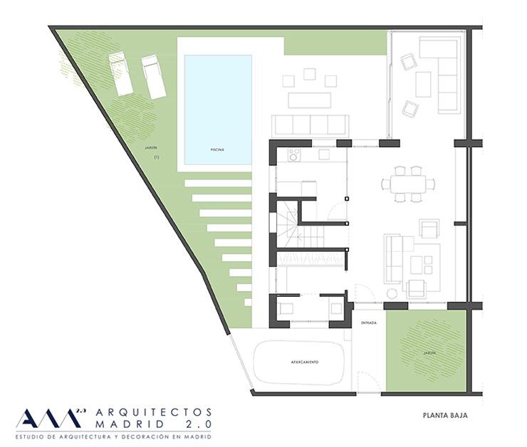 decoracion proyecto reforma vivienda  ARQUITECTOS MADRID - plano planta baja