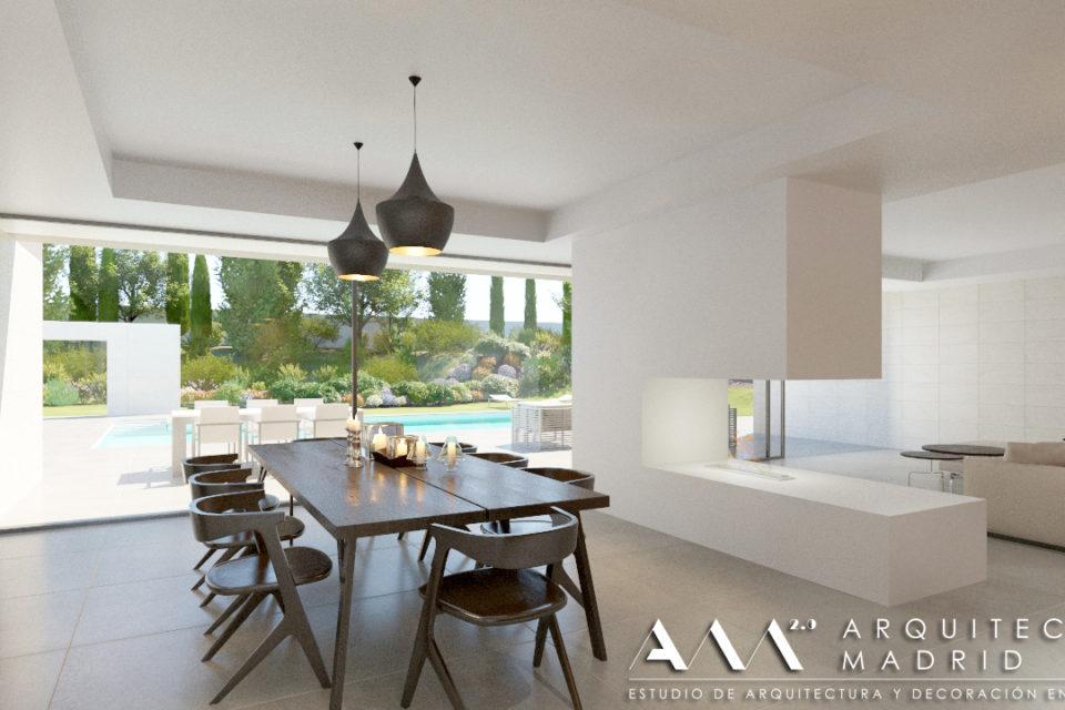 proyecto-casa-unifamiliar-vivienda-moderna-madrid-salon-comedor-piscina