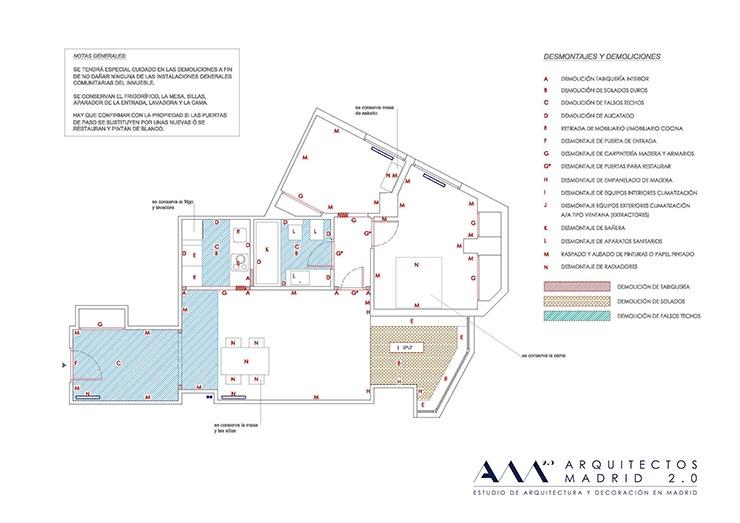 proyecto reforma de vivienda en madrid - plano de demoliciones