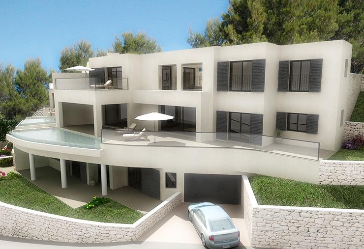 Proyectos de viviendas unifamiliares casas de dise o madrid - Casas en pendiente ...