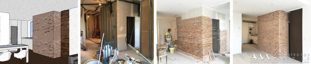 reforma-completa-piso-madrid-construccion-muro-ladrillo-efecto-vintage