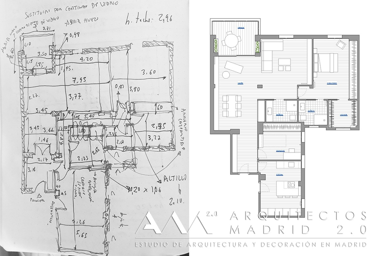 Reforma de piso en Madrid de 100 m2 | Antes y Después